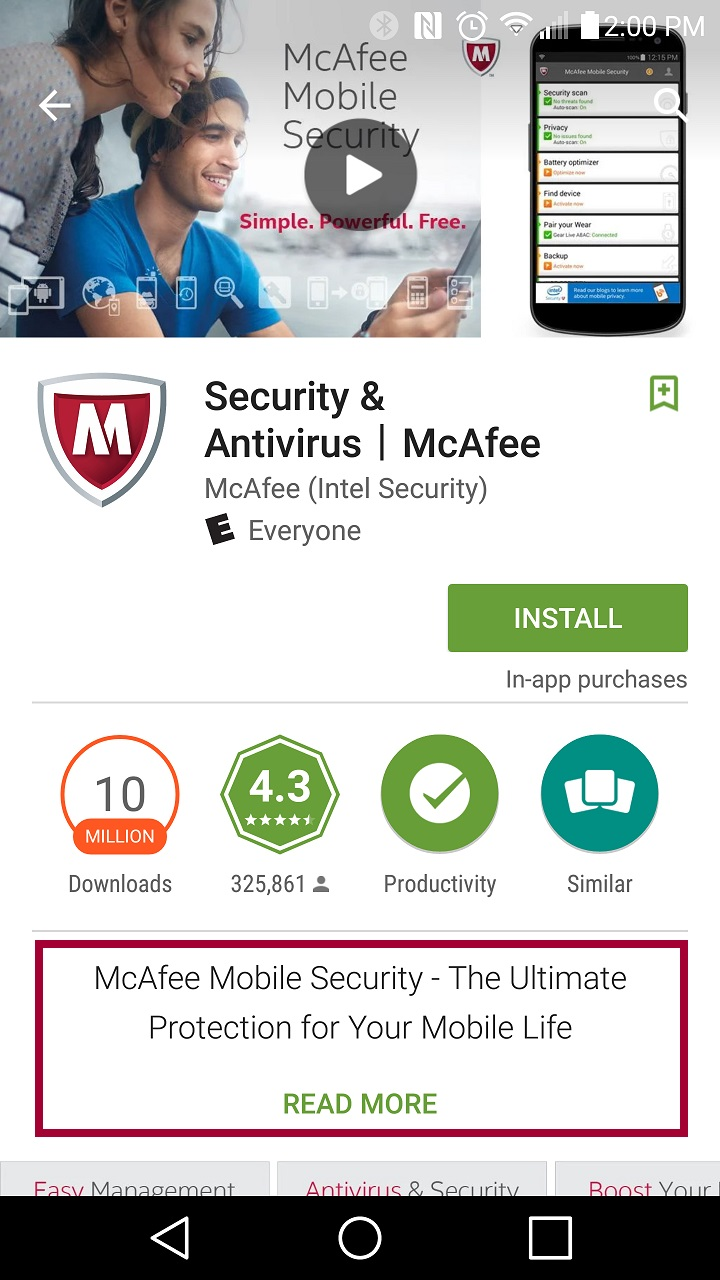 how to delete mcafee mobile security account
