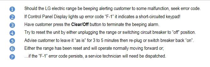 "LG Help Library: Electric Range: ""F-1"" error code – troubleshooting"