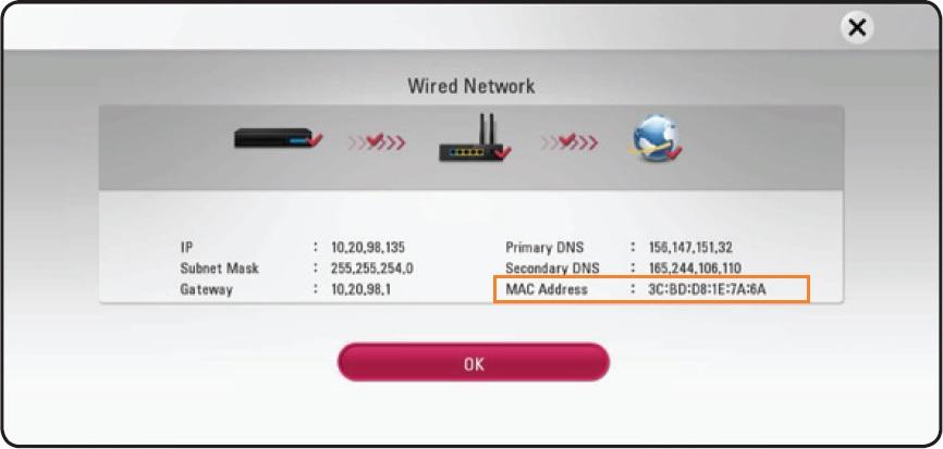 LG Help Library: Locating MAC address on an Audio Video