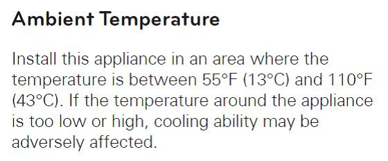 Note from user manual with respect to ambient temperature, ideally between 13 and 43 degrees Celsius.