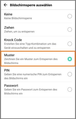 whlen sie unter einstellungen sperrbildschirm sperrbildschirmtyp die option muster - Muster Passwort