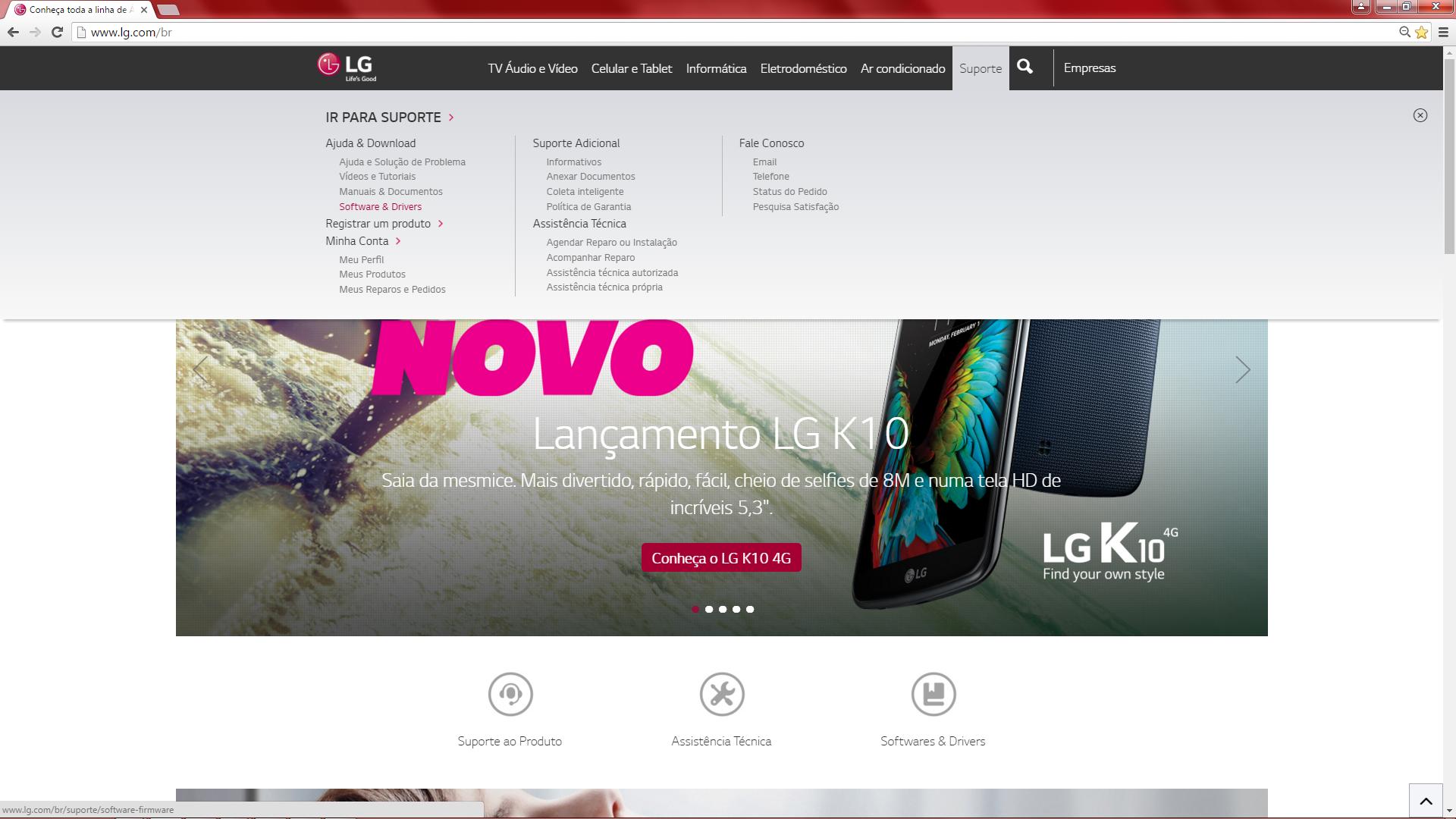 Ilustração da página de Download e Manuais no site LG