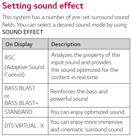 LG Help Library: Altering Sound Effect option either