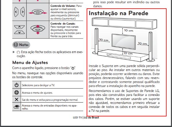 d01b67cf8 LG Ajuda e Solução de Problema  Como instalar a TV na parede