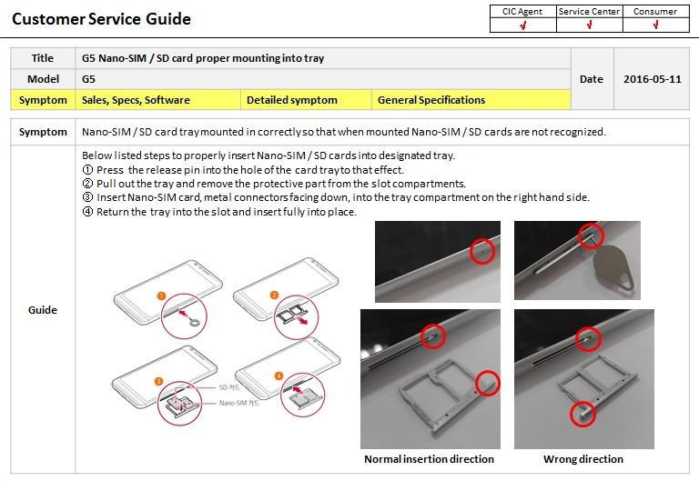 LG Help Library: G5 Nano-SIM / SD card proper mounting into tray