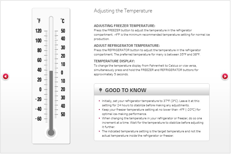 Help Library Ideal Temperature Setting Lg Canada
