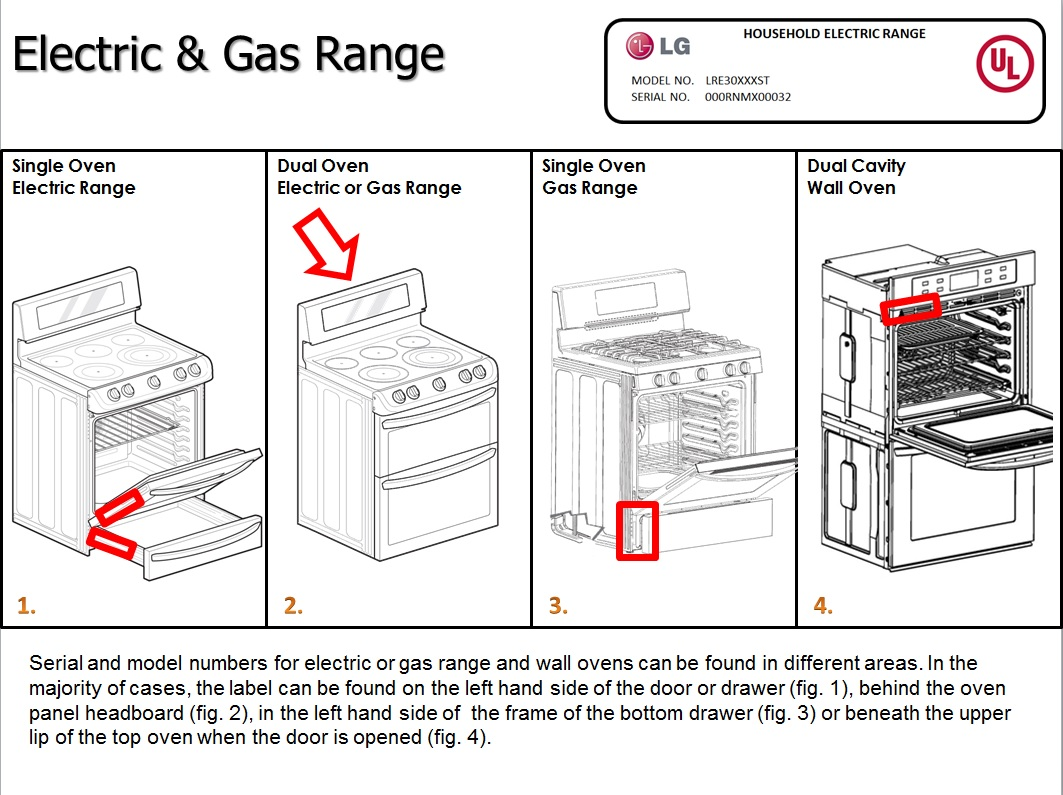 Lg Help Library Locate Model And Serial Numbers On Range Electric Oven Circuit Diagram Or Gas