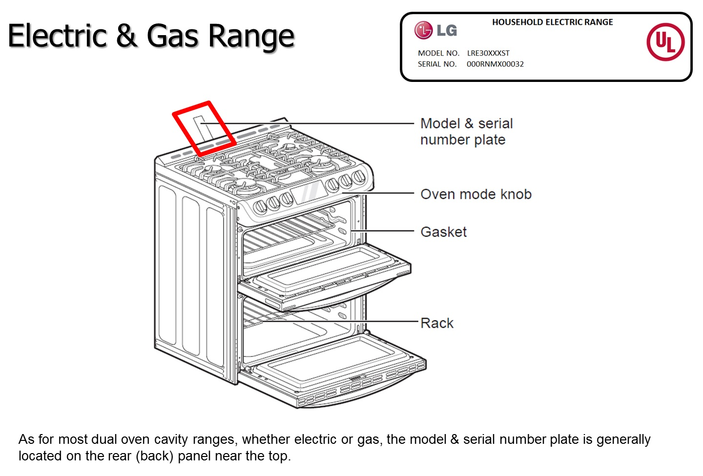 LG Help Library: Locate model and serial numbers on LG Range
