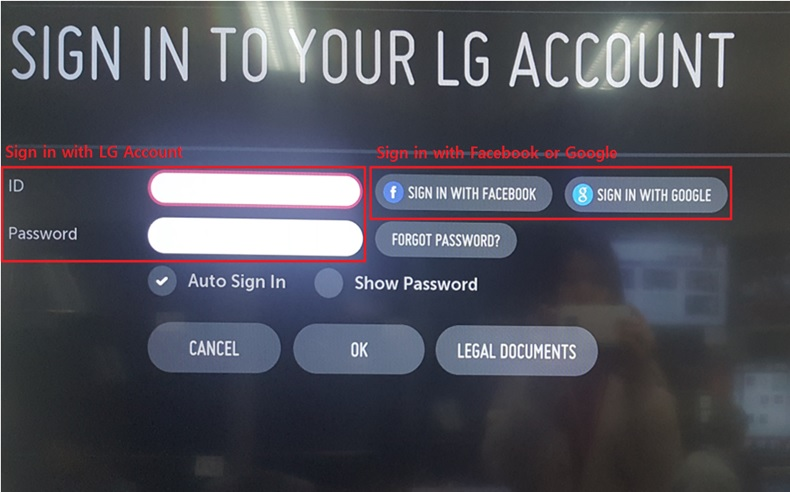 LG Help Library: Sign-in webOS TV using Facebook or Google account