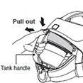 grasp the handle of the dust tank