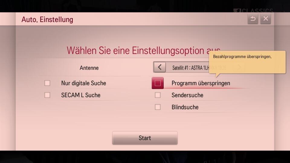 Satelliteneinstellung Deutschland
