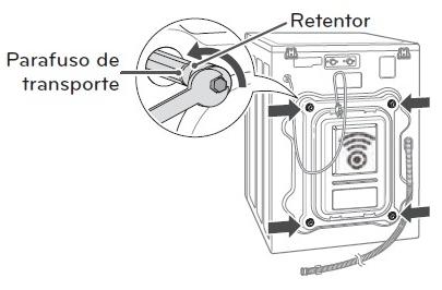 Imagem da parte traseira da lavadora, com zoom no Parafuso de transporte