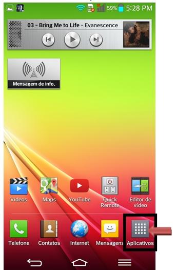 Icone aplicativos na tela inicial