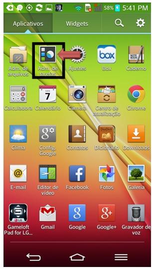 Ícone Administrador de tarefas no menu de aplicativos