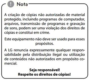 Alerta sobre criação de cópias não autorizadas de materiais protegidos