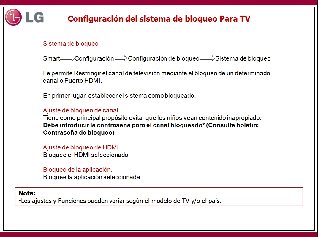 En este documento encontrara información sobre la configuración del sistema de bloqueo Para TV