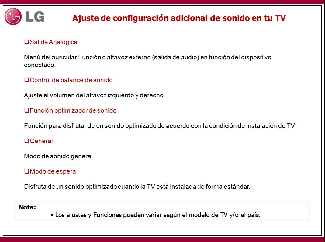 En este documento encontrara información sobre los ajuste de configuración adicional de sonido en tu TV