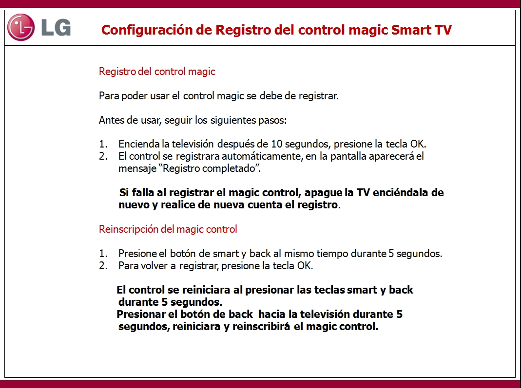 En este docuemnto encontrara información sobre la configuración de Registro del control magic Smart TV