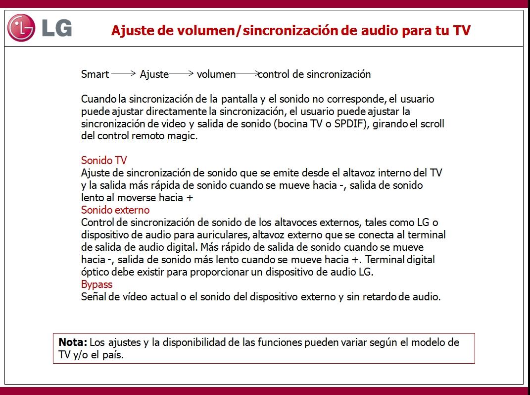 En este documento encontrara información sobre Ajuste de volumen/sincronización de audio para tu TV