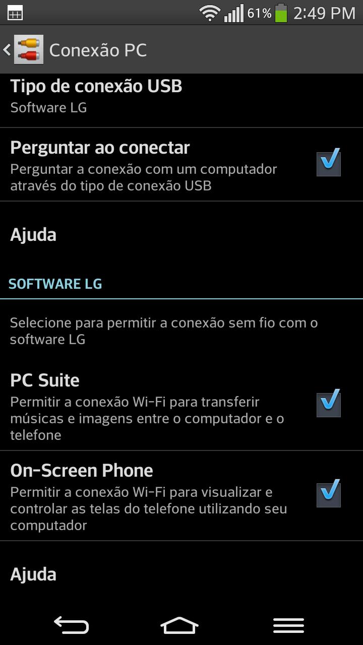 Tela de menu Conexão PC