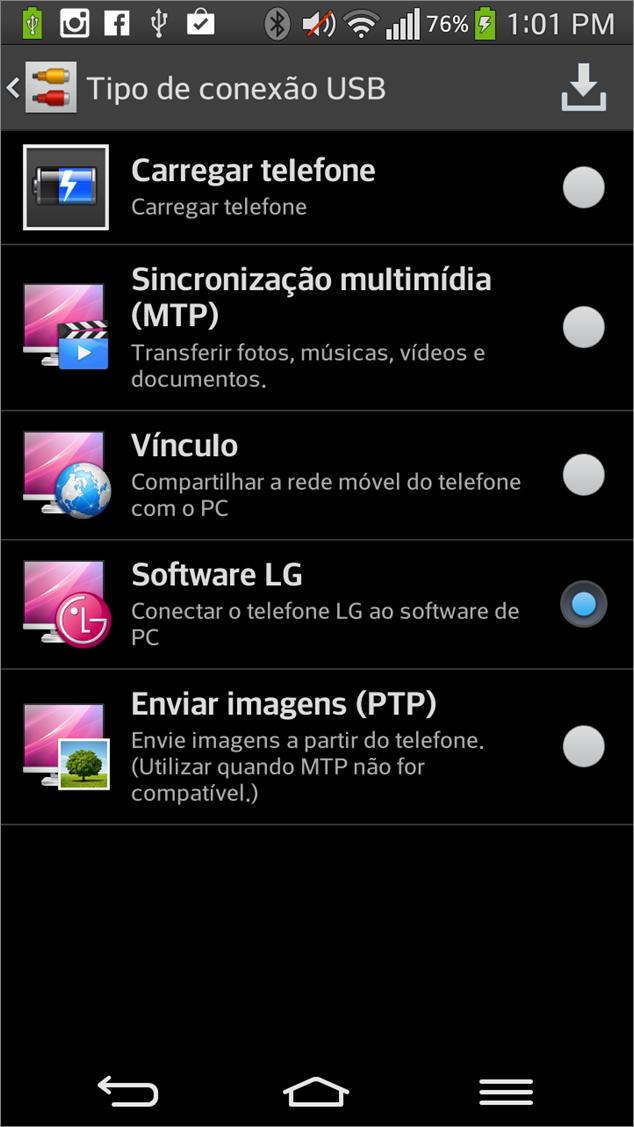 Selecione a opção de conexão Software LG