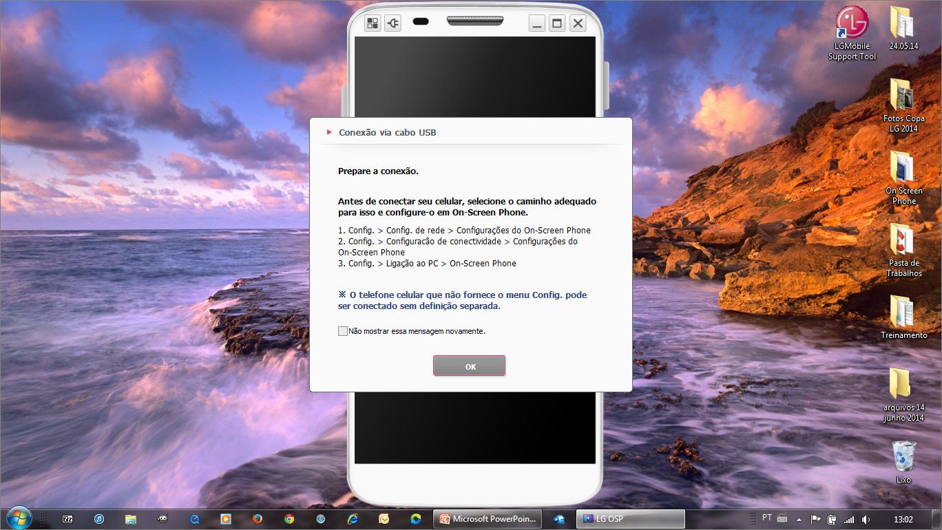 Mensagem na tela do Computador para instruir o modo de conexão e ajustes