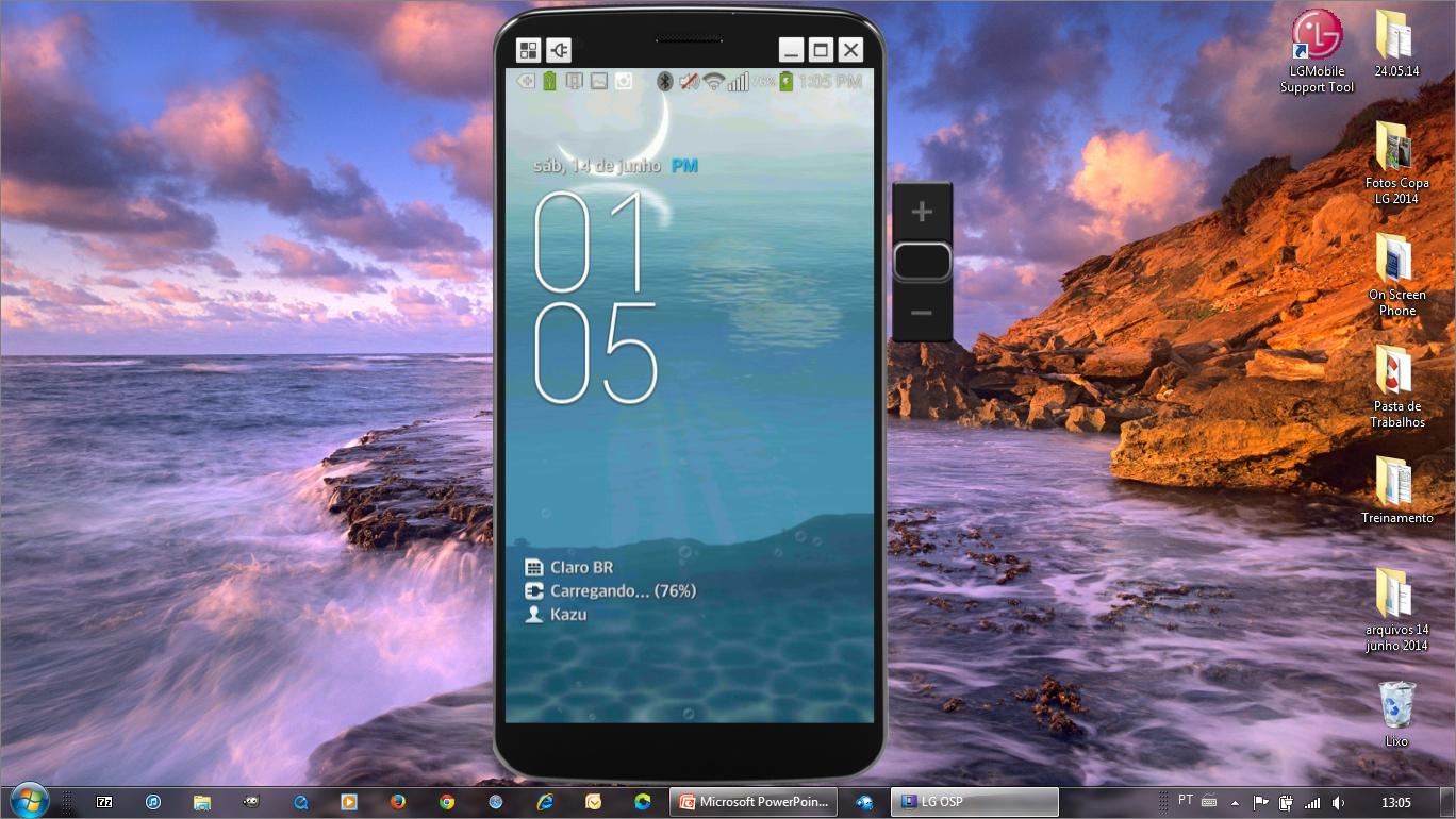 Na tela do computador mostra a imagem espelhada da tela do celular