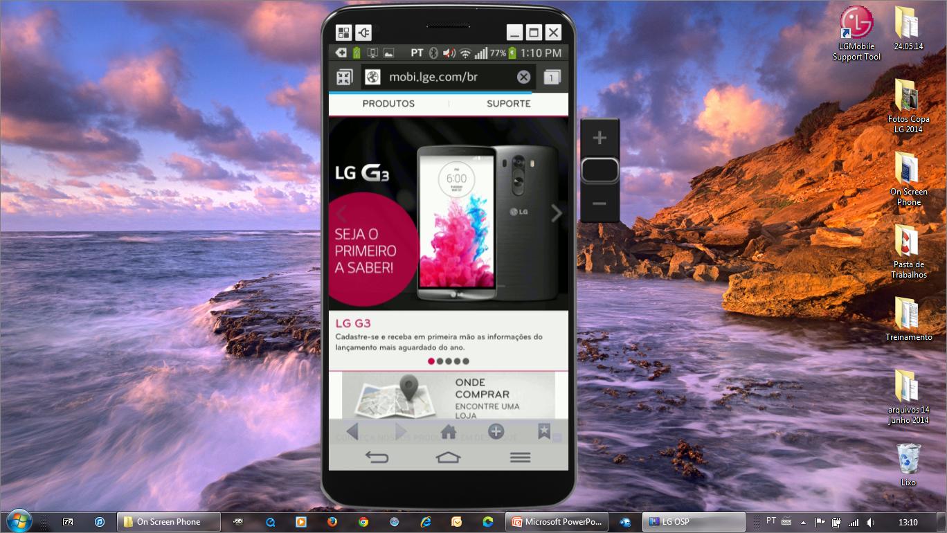 Com o teclado e mouse do PC é possível digitar e navegar pela internet usando a tela do seu celular
