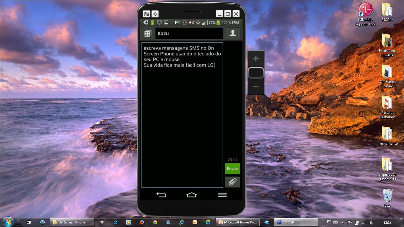 Digite textos com o teclado do PC no OSP e envie mensagens SMS do celular.  Tela para digitar textos SMS