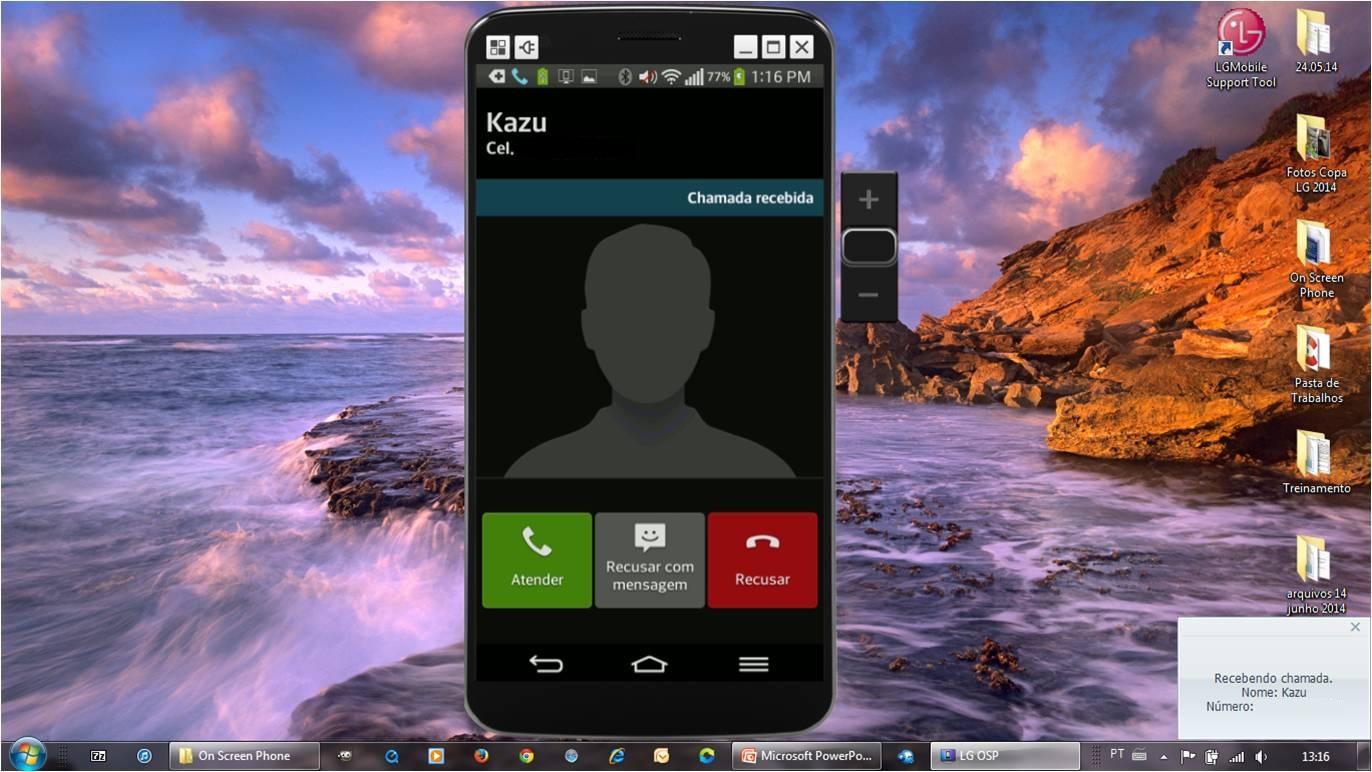 Visualize chamadas do seu celular na tela do PC, quando a tela estiver ligada.