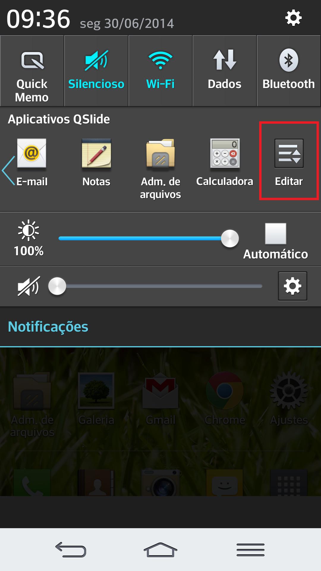 para alterar a ordem dos aplicativos de QSlide, basta arrastar a barra da direita para a esquerda até encontrar a opção Editar