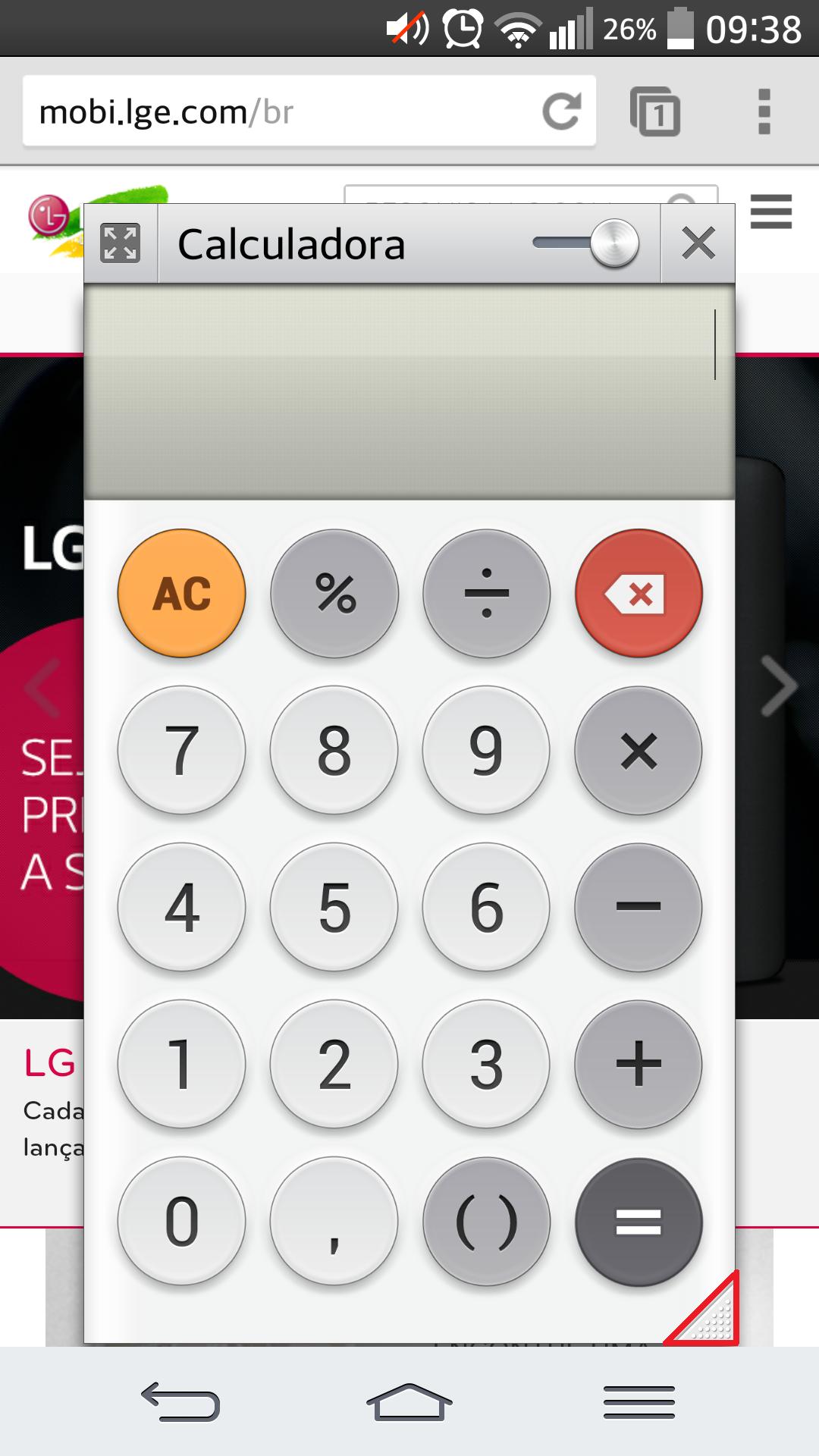 é possível redimensionar o tamanho do aplicativo a ser exibido via QSlide, através do ícone em formato de triângulo no canto inferior direito. Basta tocar, segurar e arrastar.