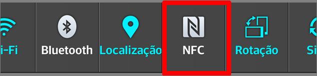 deslize a barra de notificações para baixo e acione o ícone NFC na barra superior