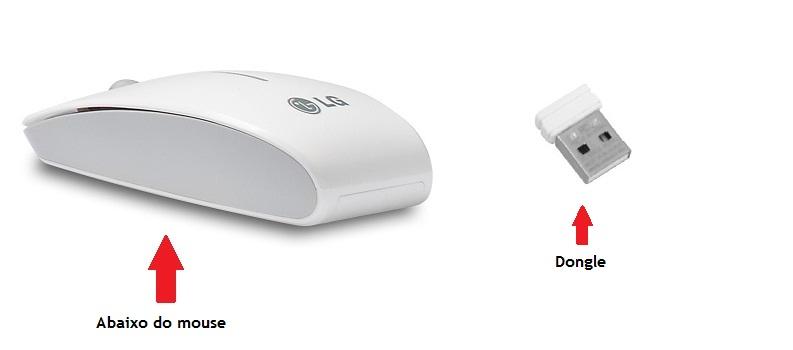 Ilustração do mouse e o dongle