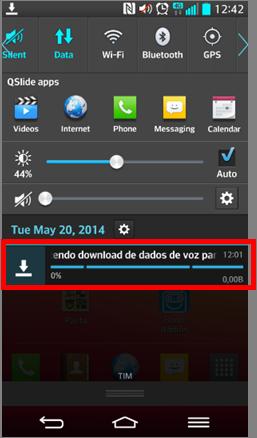 O pacote de idioma não instala. A barra de progresso do download fica com zero porcento