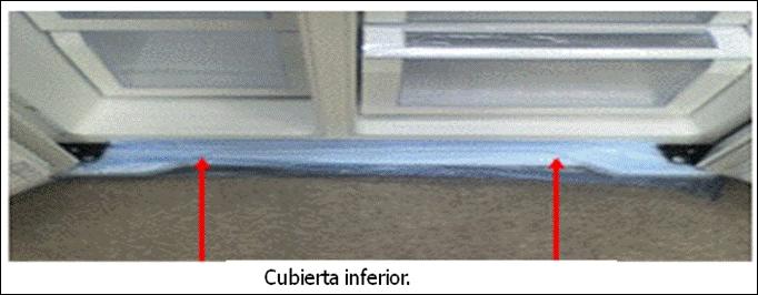 En esta imagen se muestra como nivelar su refrigerador  Primero desmonte y retire la Cubierta inferior.