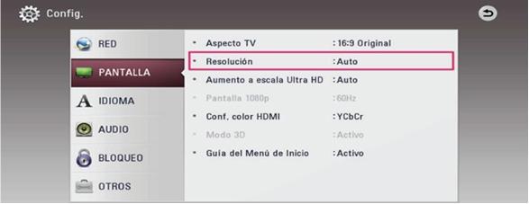 Desde el menú de su TV acceda a Configuración-Pantalla- Resolución