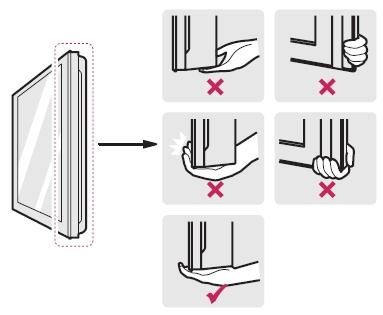 Sostenga con firmeza la parte superior e inferior del marco del televisor. Asegúrese de no sostenerlo por el panel, por la bocina o por el área de rejillas de las bocinas.