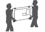 Si desea transportar un televisor grande, necesita la ayuda de dos personas como mínimo. Al transportar el televisor con las manos, sosténgalo como se indica en esta ilustración.