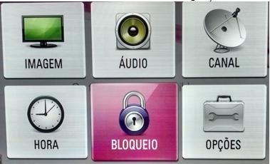 Menu Settings do monitor com bloqueio selecionado