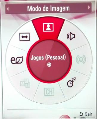 Menus rápidos que será exibido ao pressionar o botão Q.MENU