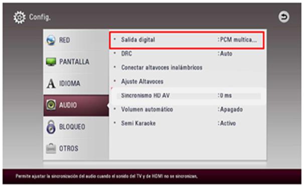 """2.3 """"Salida de audio"""" en el menú de """"Audio"""". 2.4 """"Bocina externa"""", Óptico/HDMI ARC. 2.5 En """"Salida de audio óptico digital"""" seleccione """"PCM"""".  3. En el Home Theater seleccione la opción """"OPTICAL"""" pulsando """"FUNCTION"""", o pulse """"OPTICAL TV SOUND"""" para seleccionarla directamente. También puede usar el botón """"F"""" de Función del panel frontal para seleccionar el modo de entrada, no en todos los equipo cuentan con el botón."""