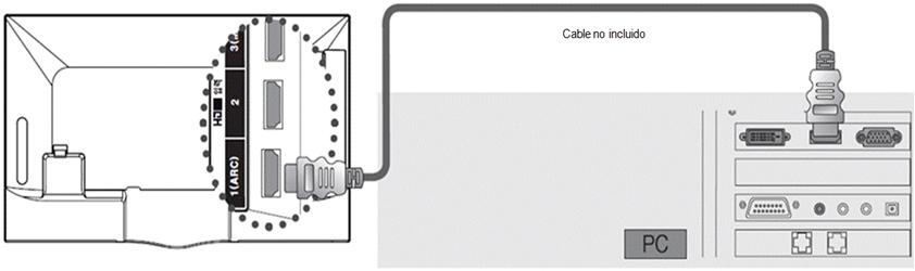 Como conectar tu PC a tu TV LG con un cable HDMI, conecte en la TV Entrada HDMI 1; y el otro extremo en la terminal de salida de HDMI de su PC. Compruebe si hay imagen y sonido.