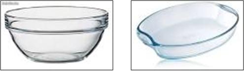 Los vidrios resistentes al calor, son ideales para usar en el microondas. Las mayoría de los recipientes de vidrio modernos son aptos para usar en el horno microondas; los recipientes antiguos de vidrio con burbujas no son aptos para usar en este electrodoméstico porque las burbujas pueden explotar y hacer que el vidrio se rompa.