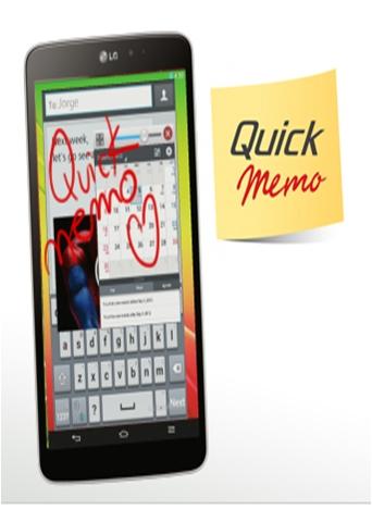 Quick Memo es una aplicación diseñada para tu LG Pad, que te permite ubicar, destacar y agregar notas directamente sobre cualquier imagen, red social o realizar notas simples con el dedo para compartirlo al instante.