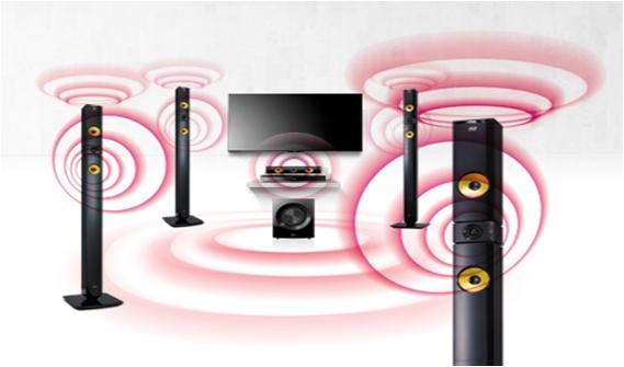 LG añade cuatro canales adicionales 9.1 canales a la instalación típica 5.1; canales  que se traduce en un sonido mejorado