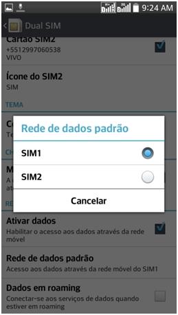 Selecione o SIM card