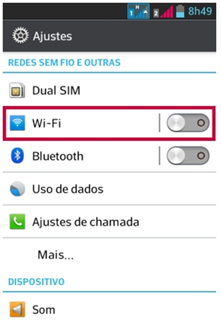 Desabilite Wi-fi