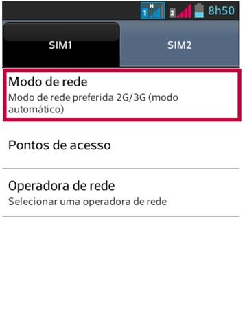 selecione o SIM que vai acessar a internet e o Modo de rede