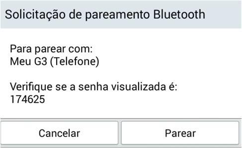 Solicitação de Pareamento Bluetooth